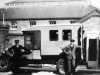 Harry Hopkins with driver Mr Dabner, post 1930 with LCC Ambulance