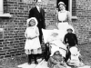 Dr Hadlow with nurse and fever patients. 1915