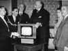 Livingstone hospital Feburary 1949. Presentation of a television set by Dartford Harriers. L-R Mr Parry Chairman Hospital Management Committee, Mayor J S Deguin