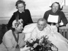 May 1950, West Hill. The 100th birthday of Mrs E Styles, Grace Say ward. Mrs Welch (Mayor), Miss Foskett (Matron) and Sister V Dorey